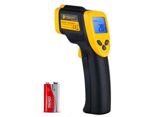 A black and yellow Digital Laser Infrared Thermometer with a battery.