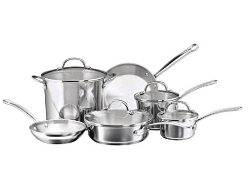 10-Piece Cookware Set that includes 1-qt. and 2-qt. Saucepans with Lids, 8-qt. Stockpot with Lid, 3-qt. Sauté with Lid, 8-in. and 10-in. Frying Pans, Stainless Steel