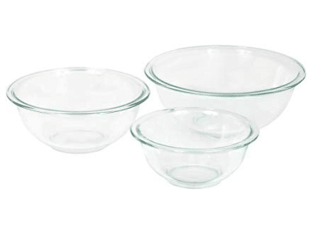 3 piece glass mixing bowl set