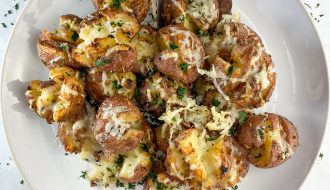 Crispy Smashed Potatoes with Garlic & Parmesan